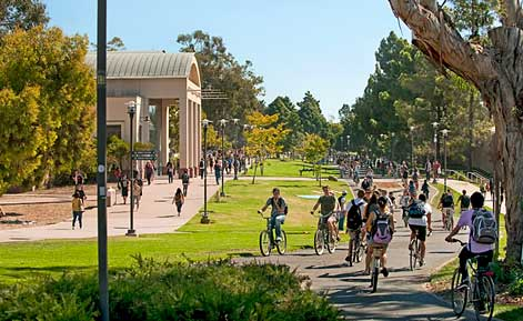 ucsb student biking at performing art center